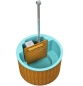 Preview: Badezuber (Hot Tub) mit Fiberglaseinsatz in Farbe hellblau