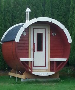 fasssauna kaufen mit terrasse zum hinsetzen. Black Bedroom Furniture Sets. Home Design Ideas
