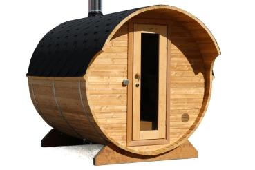 fasssauna bausatz mit holzofen und vordach die sauna bietet platz f r 4 6 personen. Black Bedroom Furniture Sets. Home Design Ideas