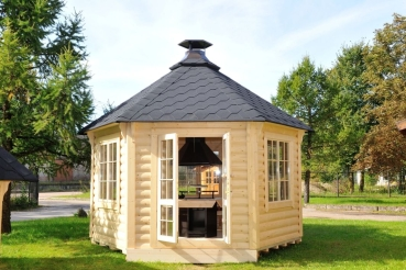 gartenpavillon gartenhaus aus bestem holz mit grill und. Black Bedroom Furniture Sets. Home Design Ideas