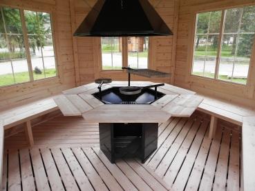 gartenpavillon gartenhaus aus bestem holz mit grill und schornstein. Black Bedroom Furniture Sets. Home Design Ideas
