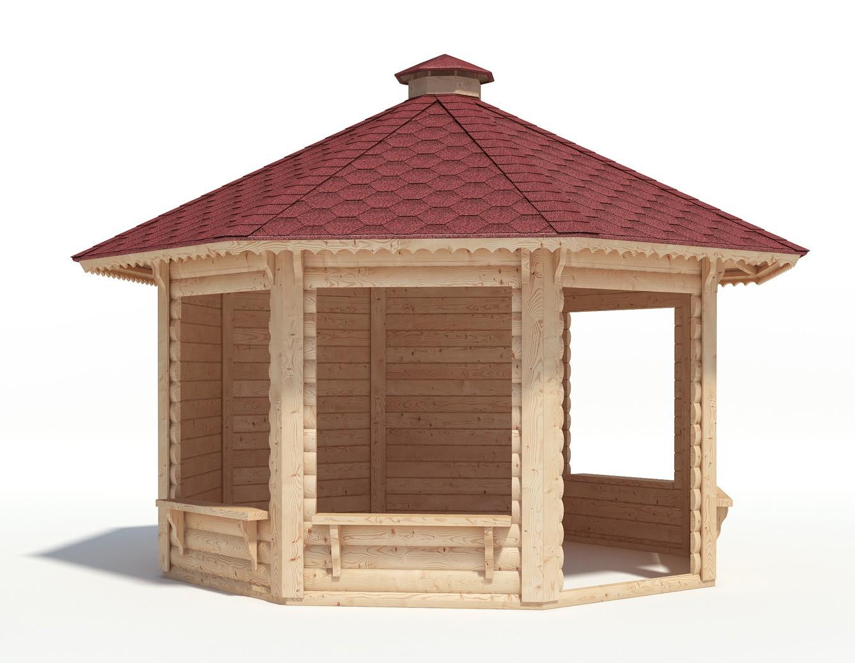 Teilweise offenes gartenpavillon aus holz - Offenes gartenhaus ...