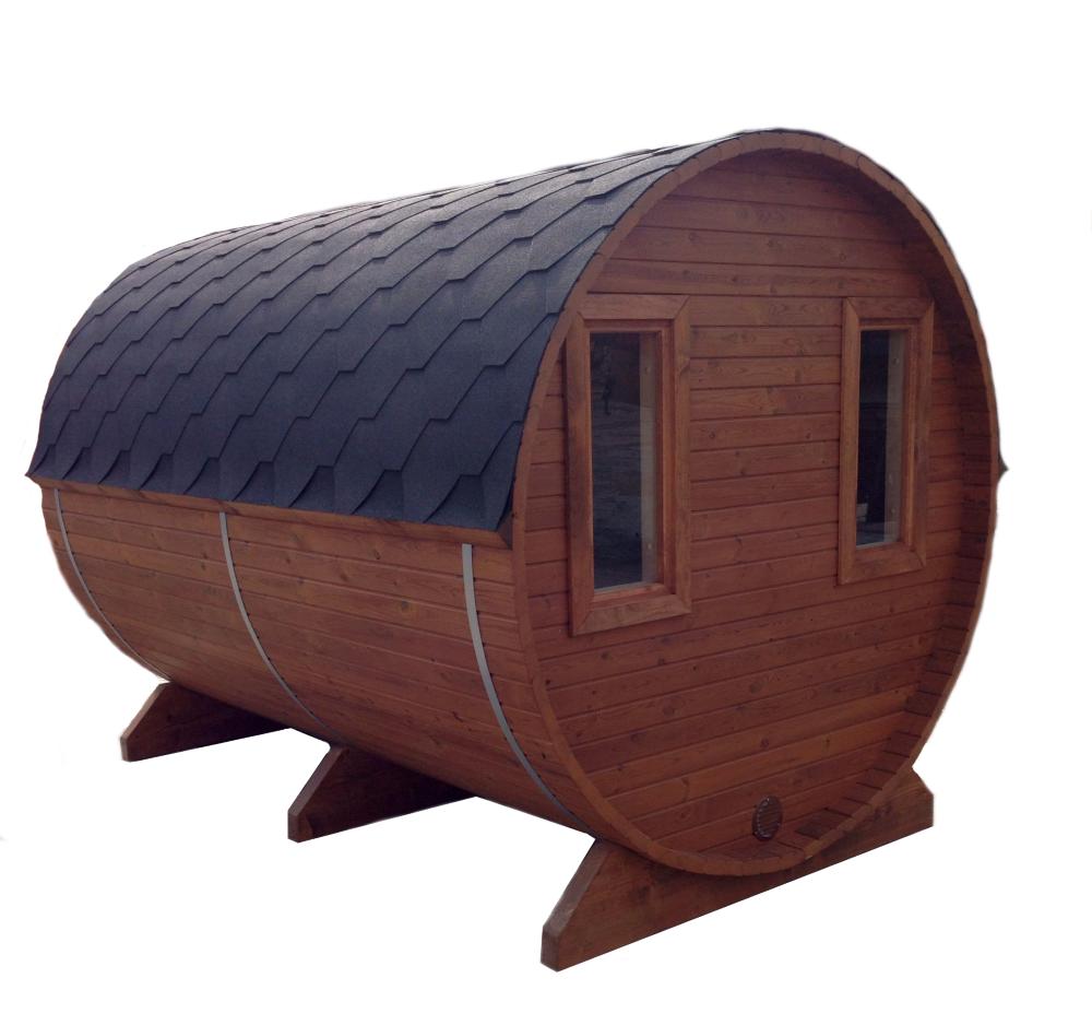 Montierte aufgebaute fass sauna mit terrasse - Gartensauna mit holzofen ...