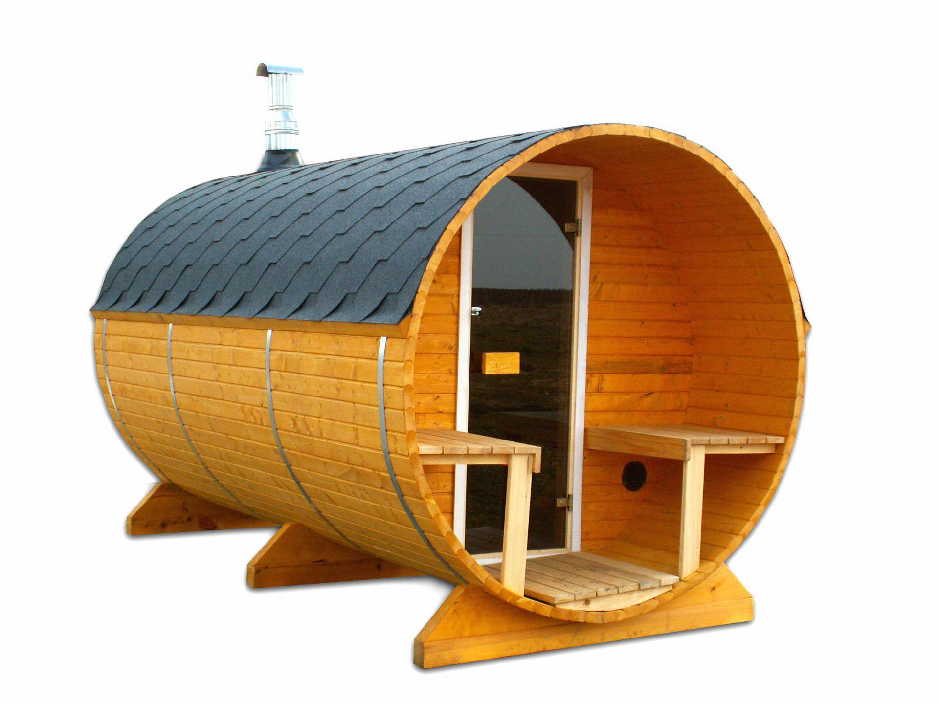 fasssauna bausatz die sauna besteht aus 2 r umen gesamtl nge 450 cm. Black Bedroom Furniture Sets. Home Design Ideas