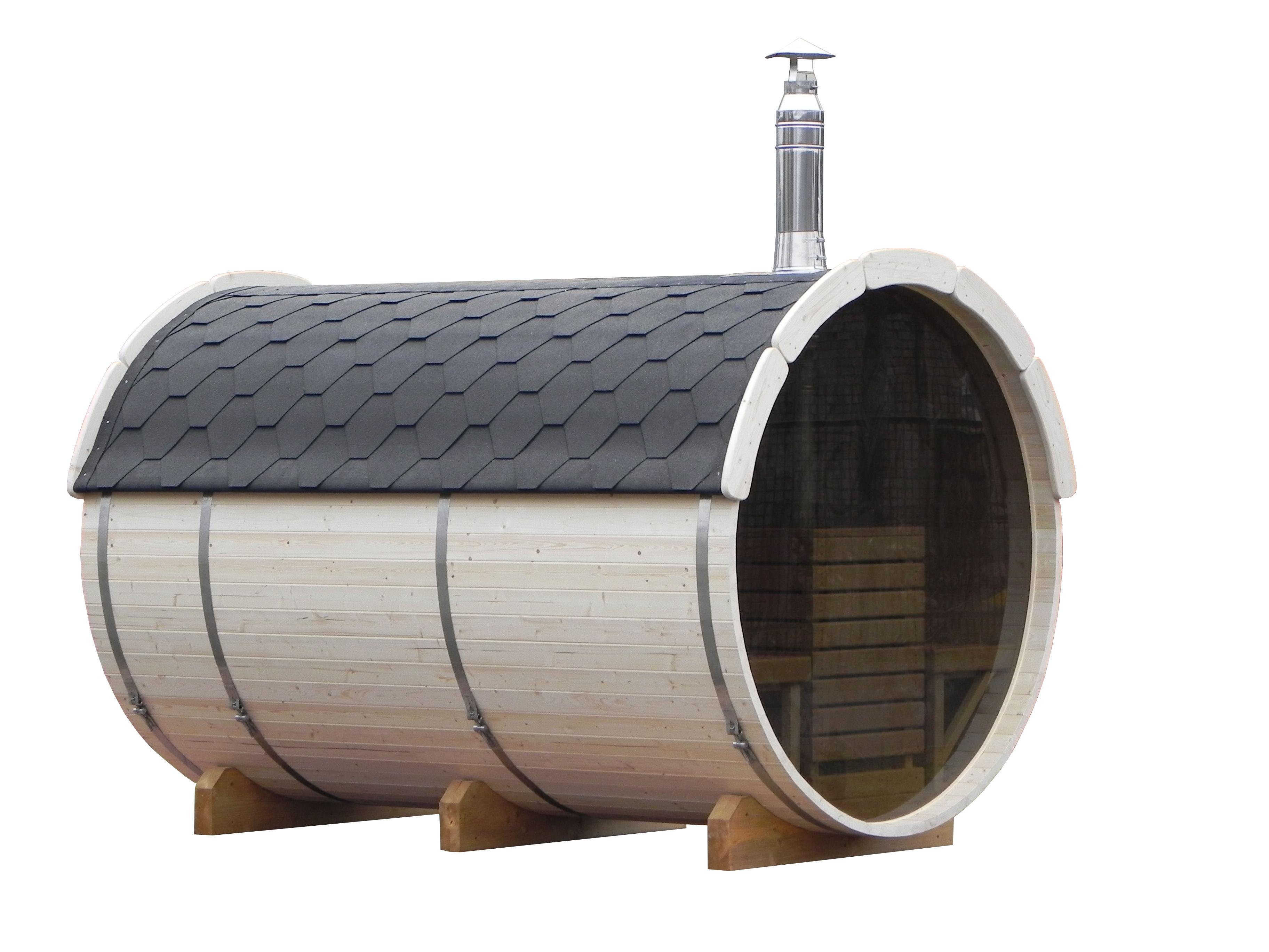 aufgebaute fasssauna mit glasr ckwand und terrasse zum hinsetzen. Black Bedroom Furniture Sets. Home Design Ideas