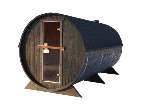 fasssauna bausatz die sauna besteht aus 2 r umen gesamtl nge 380 cm. Black Bedroom Furniture Sets. Home Design Ideas